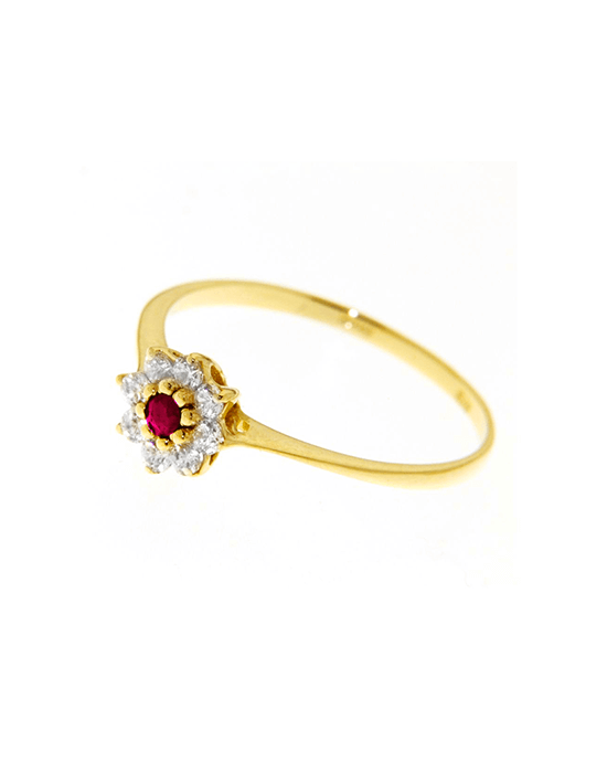 la-fabrique-d-or-Bague Fleur Rubis & zirconiums