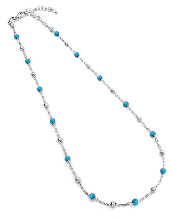 Collier argent perles bleues