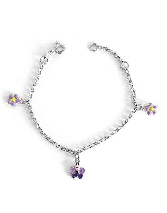Bracelet Papillon et fleurs
