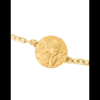 Bracelet Identité Bébé plaque ange ronde chaîne forçat ronde