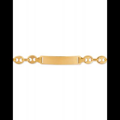 Bracelet Identité Bébé plaque rectangle chaîne grain de café