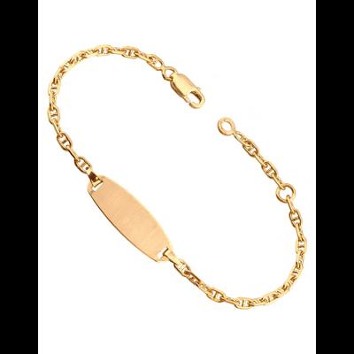 Bracelet Identité Bébé plaque ovale chaîne marine