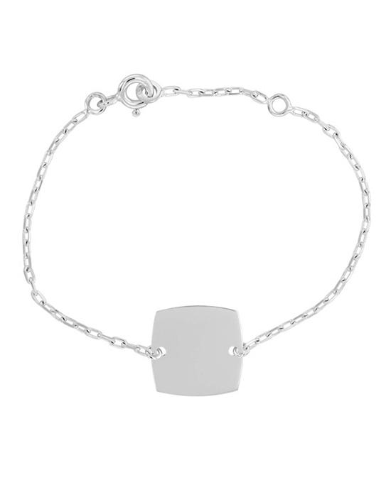 la-fabrique-d-or-Bracelet Identité Bébé plaque coussin chaîne forçat