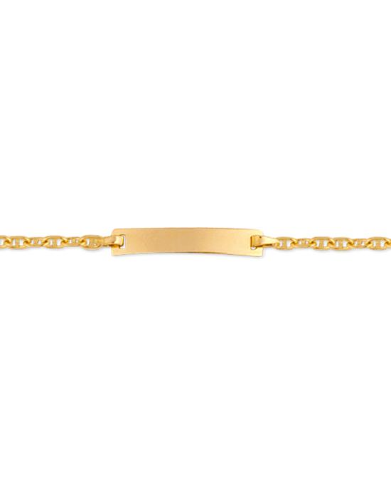 Bracelet Identité Bébé plaque rectangle chaîne marine