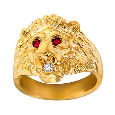 Chevalière Massive Lion Rubis et Diamant