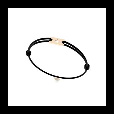 Bracelet cordon plaque en or motif « Etoile »