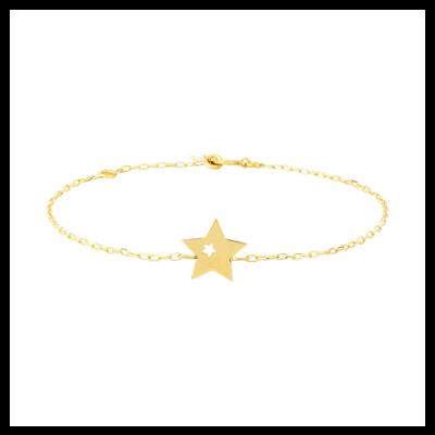 Bracelet en or plaque motif étoiles Laura