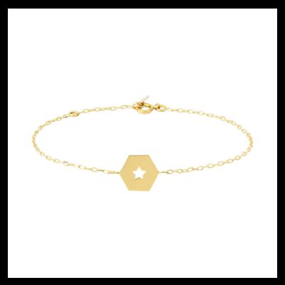 Bracelet en or plaque motif étoiles Julia