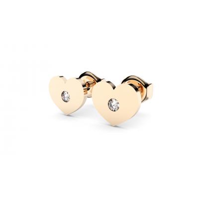 Boucles d'oreilles Coeur avec diamant