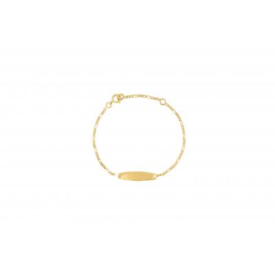 la-fabrique-d-or-Bracelet Identité Bébé plaque ovale chaîne alternée 3/1